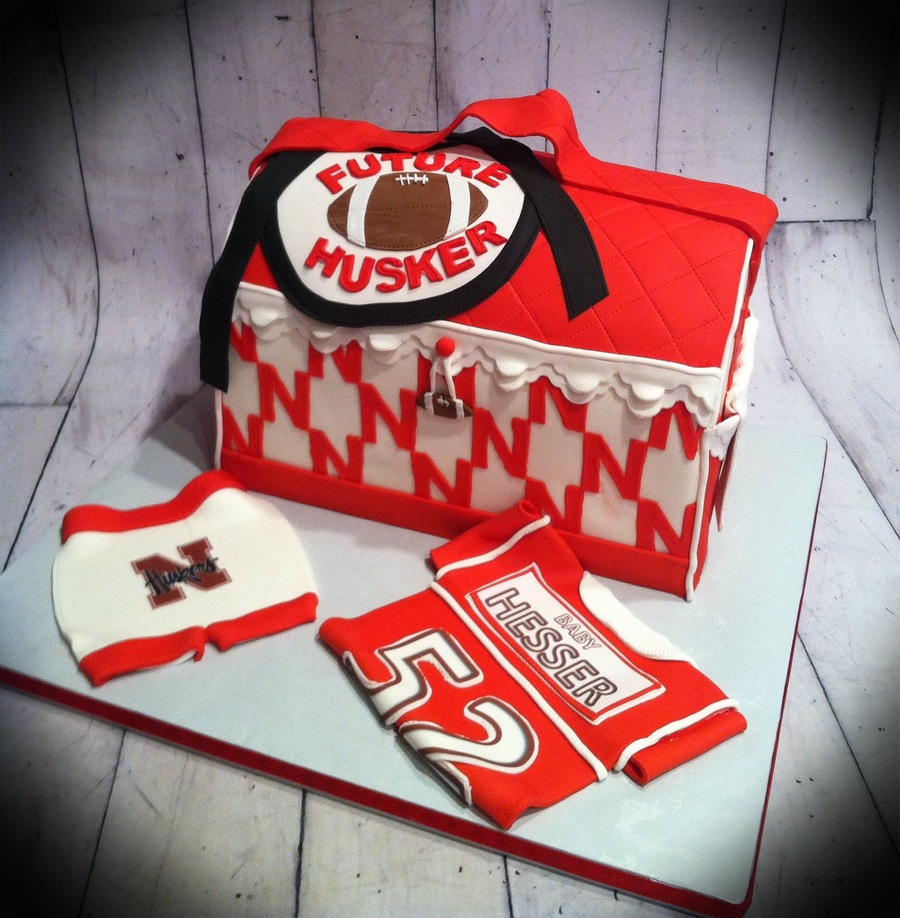 Nebraska Huskers Themed Baby Shower Diaper Bag on Cake Central