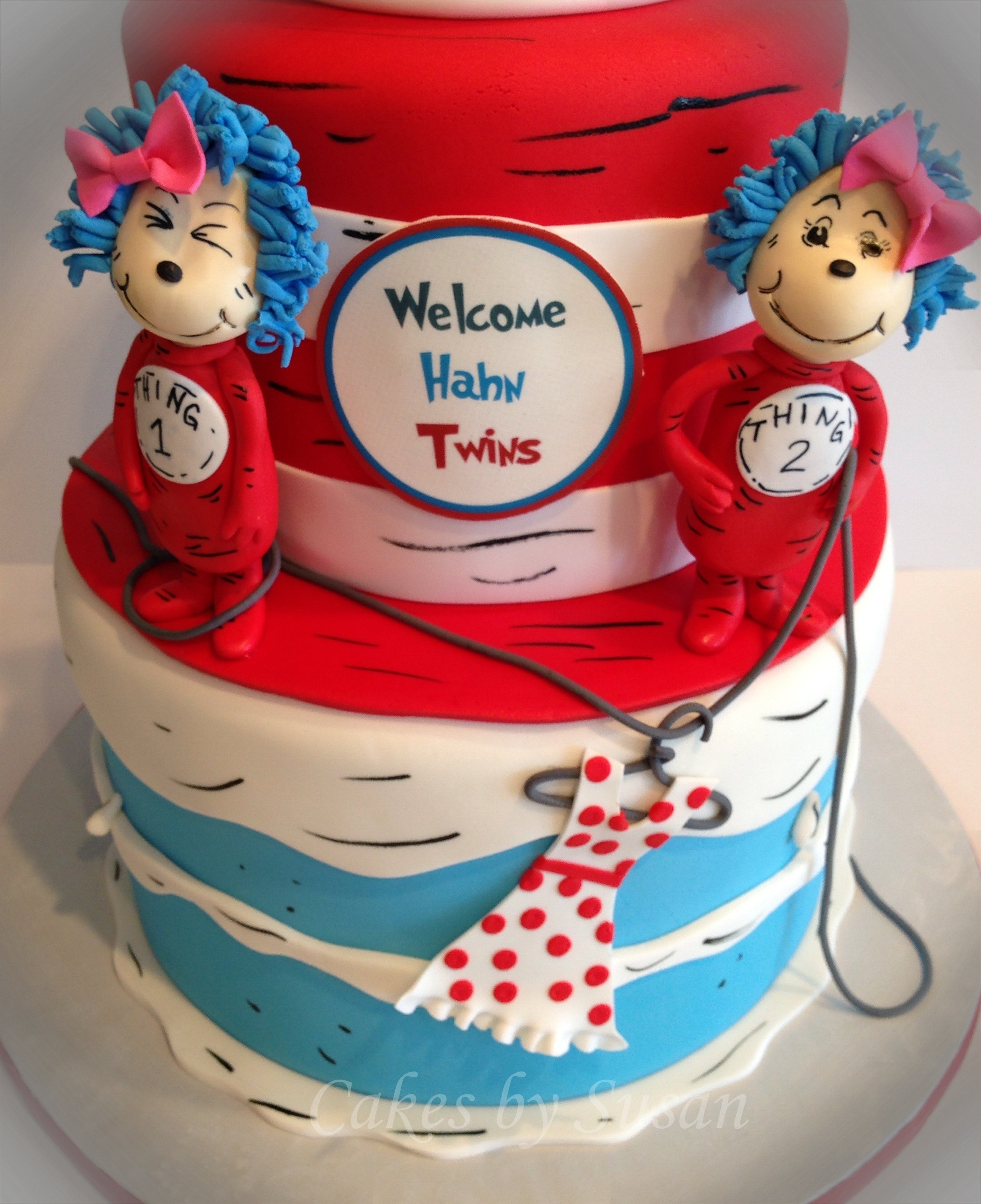 Charming Thing 1 And Thing 2 Baby Shower Cake For Twin Girls. Gumpaste Thing 1 And 2