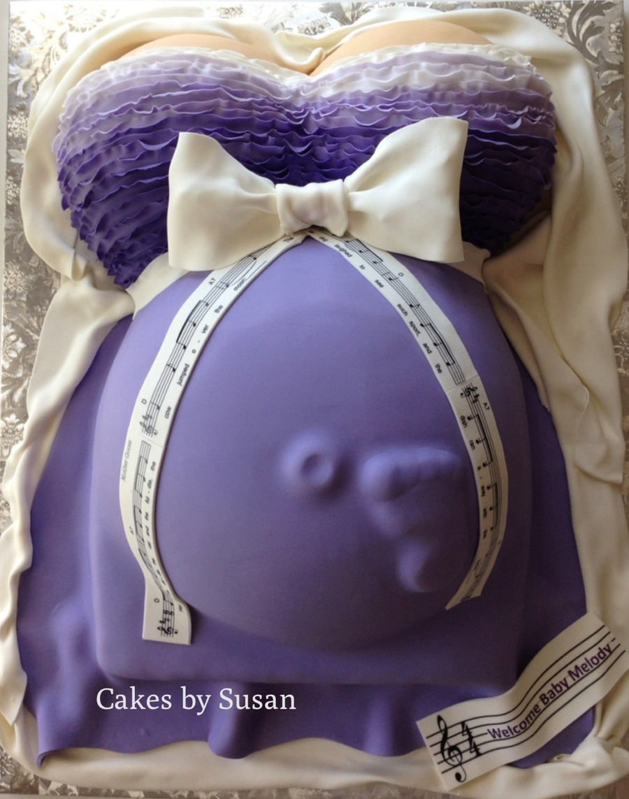 Pregnant Belly Cake The Baby Is Named Melody So Put A