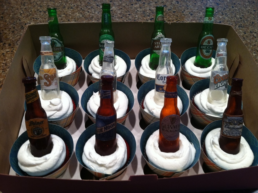 Beer Bottle Cupcake Toppers Made For A Beer Themed Birthday Party The Beer Bottles Were Made From Poured Sugar on Cake Central
