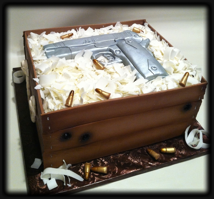 Kimber Handgun Grooms Cake on Cake Central