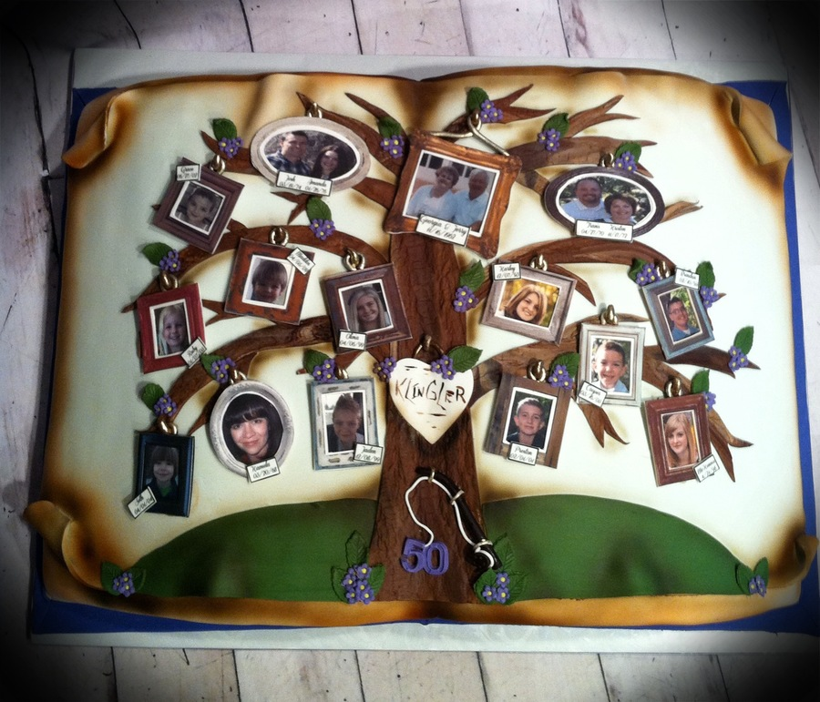 This Family Tree Was Made For A Couple Celebrating Their 50Th Wedding Anniversary Pictures Are From Edible Sheets on Cake Central