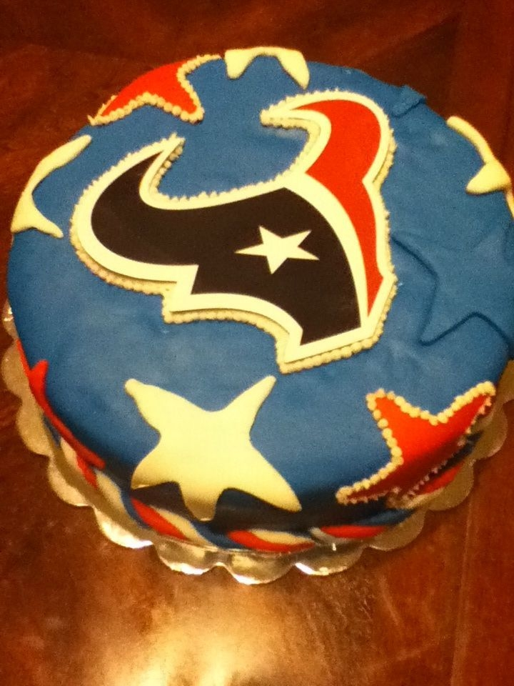 Houston Texans Birthday Cake Covered In Fondant Cakecentral
