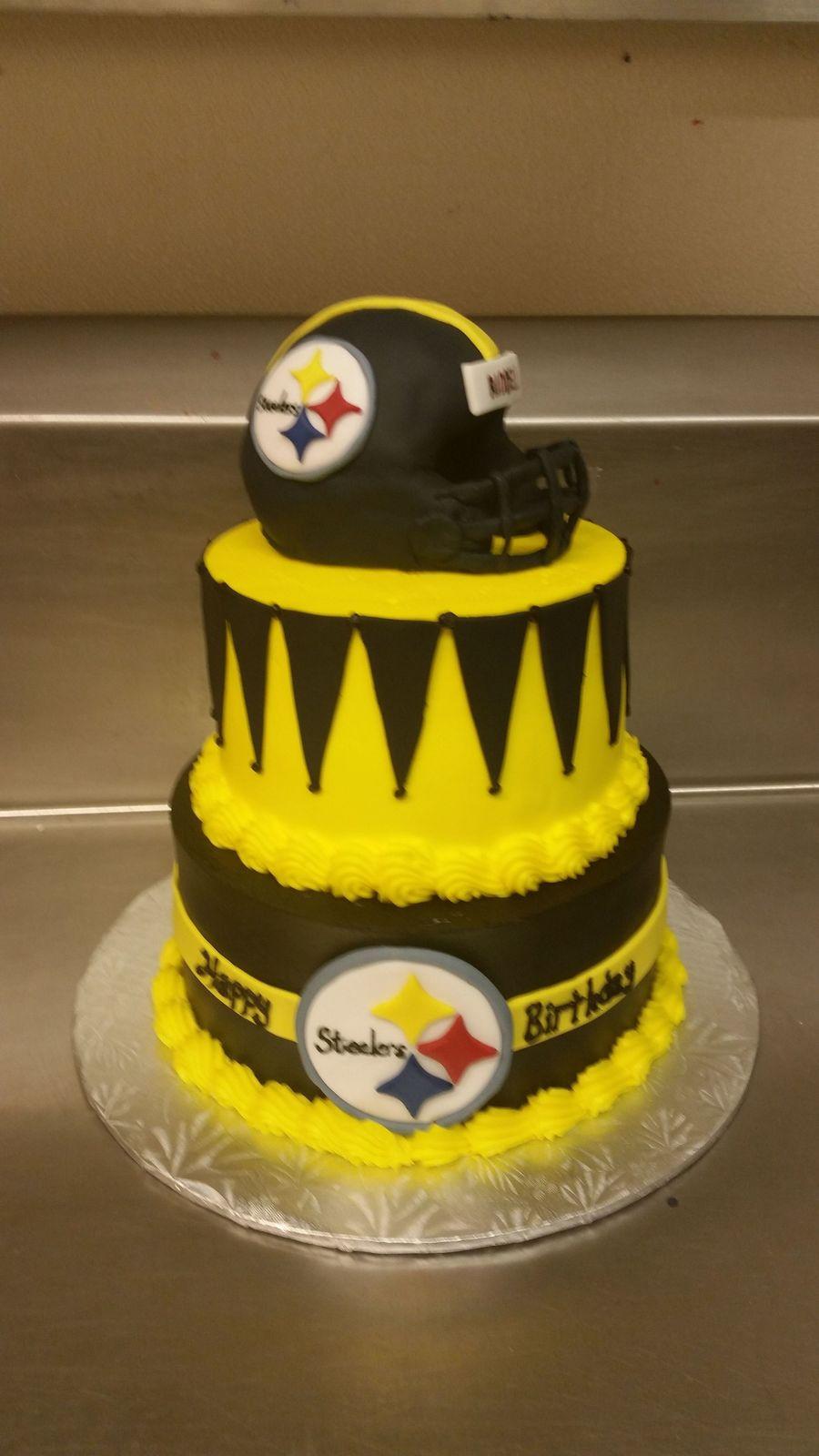 Steelers birthday cake, fondant covered rice krispie helmet. The cake ...