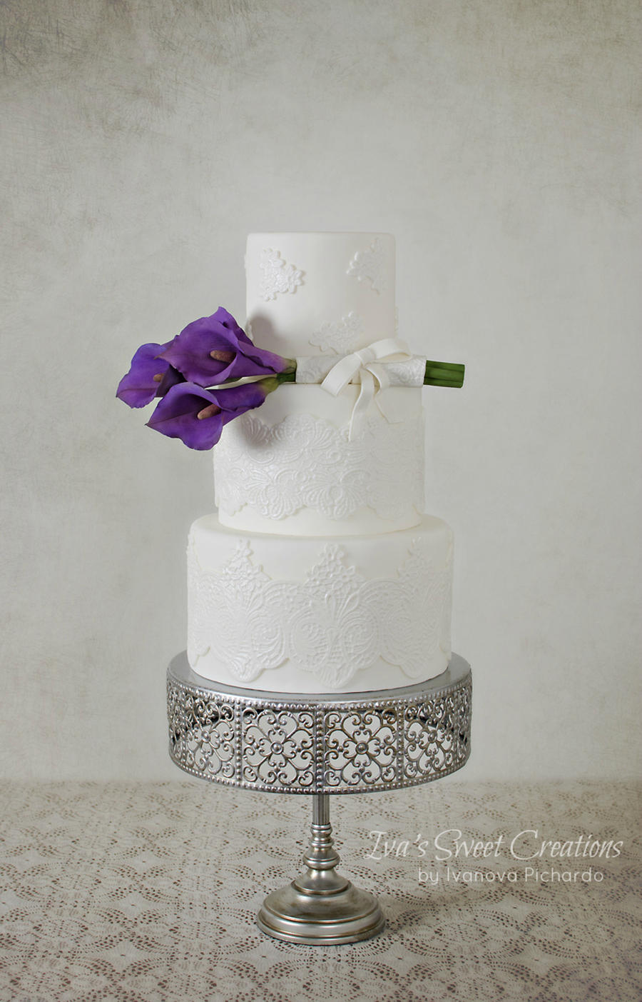 Simply White With A Touch Of Violet on Cake Central