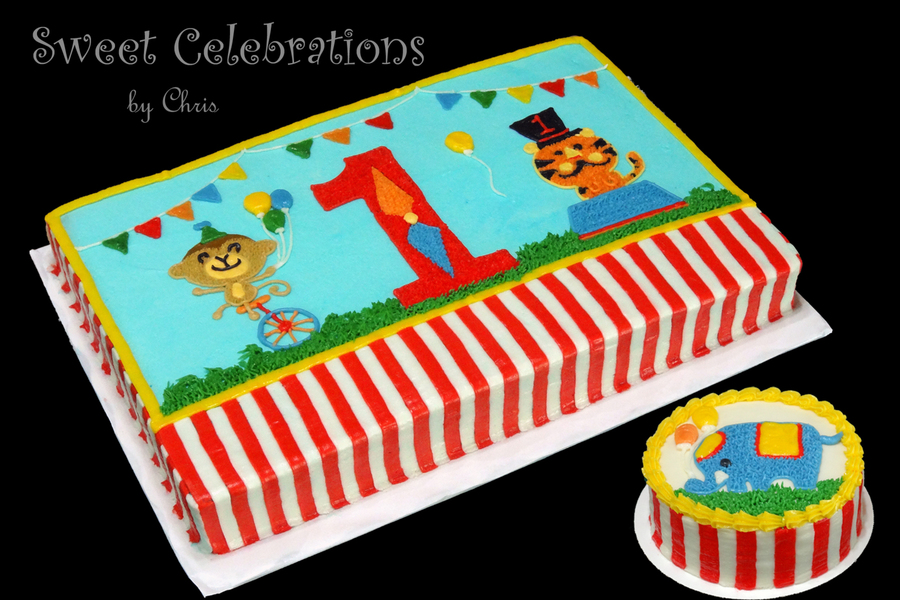 Prime Circus Themed Cake Made To Match The Party Decorations Done All In Funny Birthday Cards Online Elaedamsfinfo