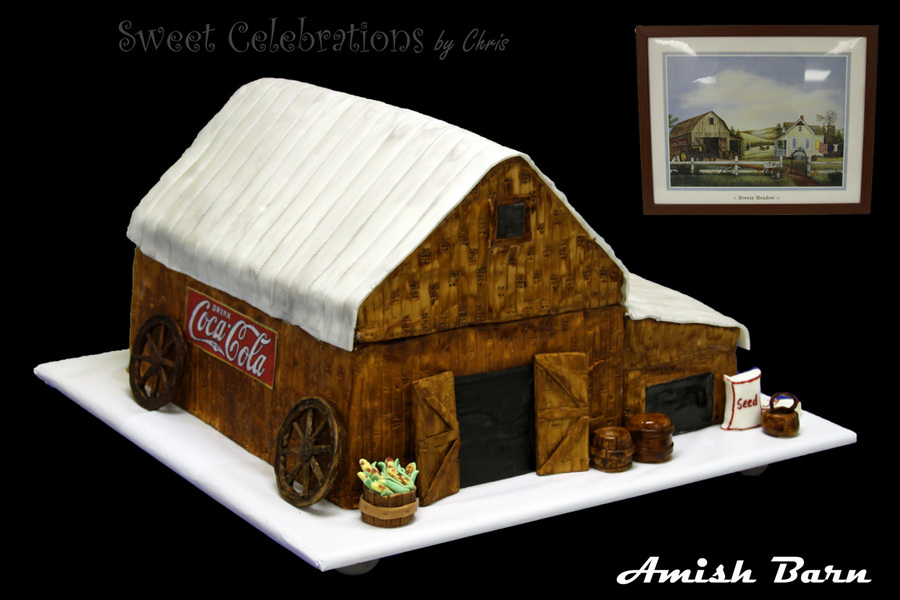 Amish Barn Customer Loved Amish Barns So The Inspiration For This Cake Was Taken From The Picture Off His Office Wall on Cake Central