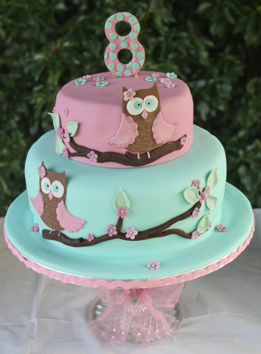 Owl Cake For Tilly S 8th Birthday Cakecentral Com