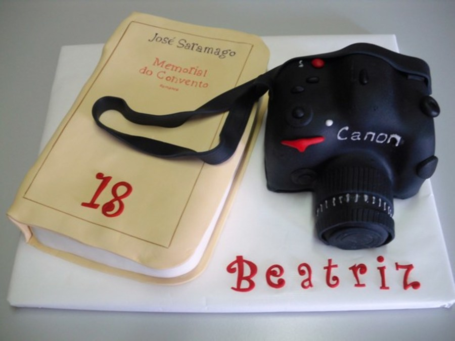 Canon Camera And Book on Cake Central