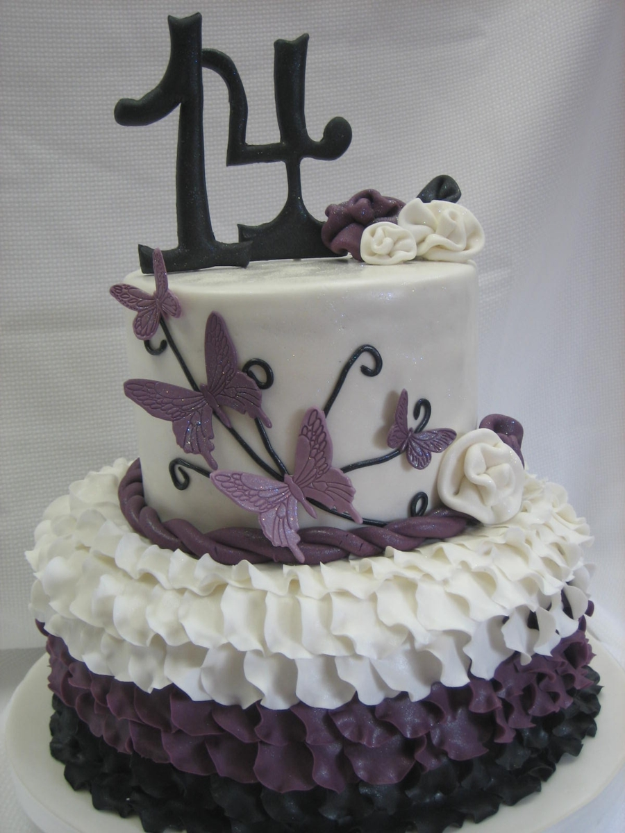 Ruffle Cake With Butterflies on Cake Central