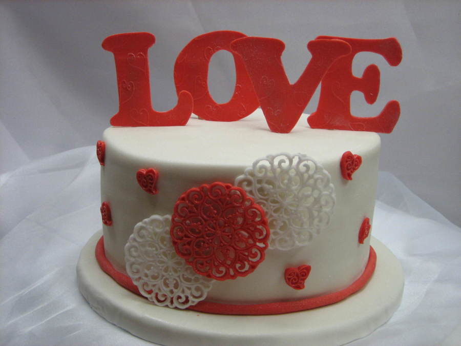 Another Test Cake For Valentines Day  on Cake Central