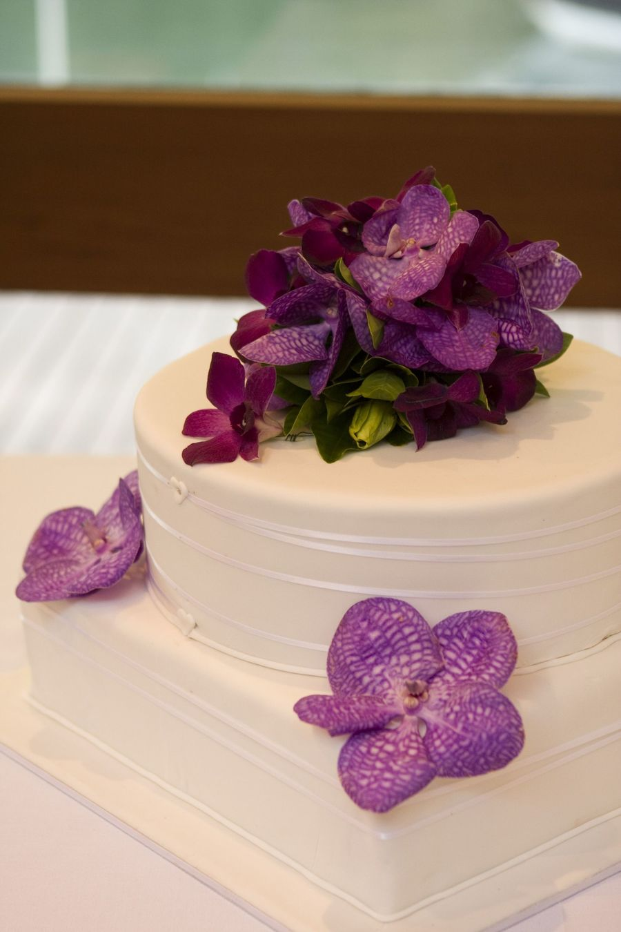 Round/square Wedding Cake With Fresh Vanda Orchids on Cake Central