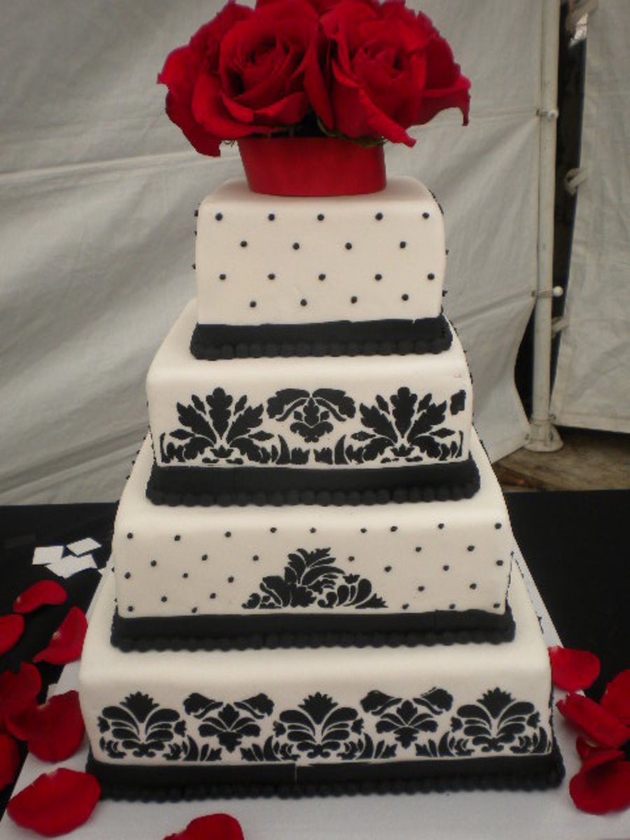 Black White And Red Damask Wedding Cake Cakecentral Com