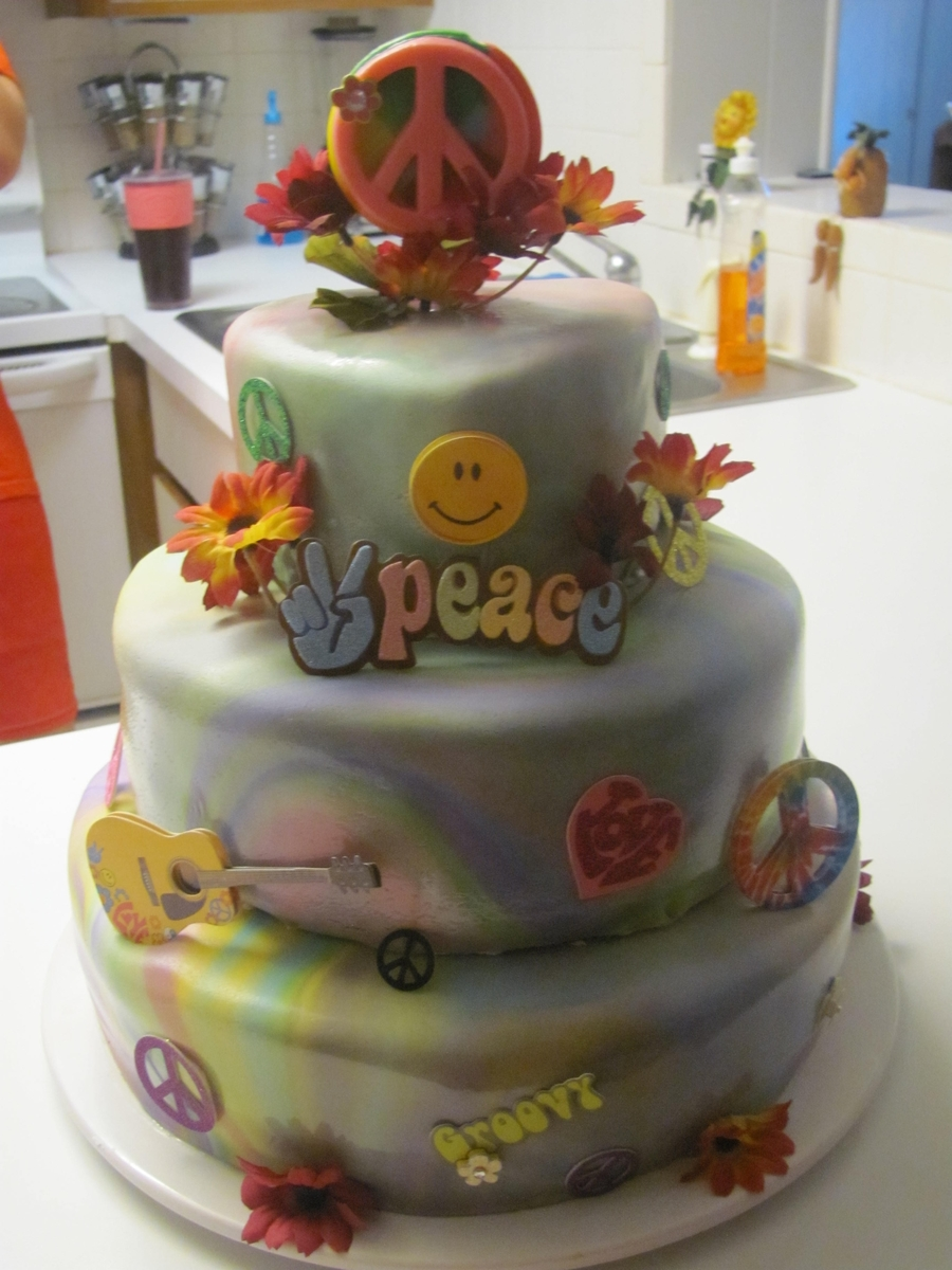 Peace Tyedye Birthday Cake on Cake Central