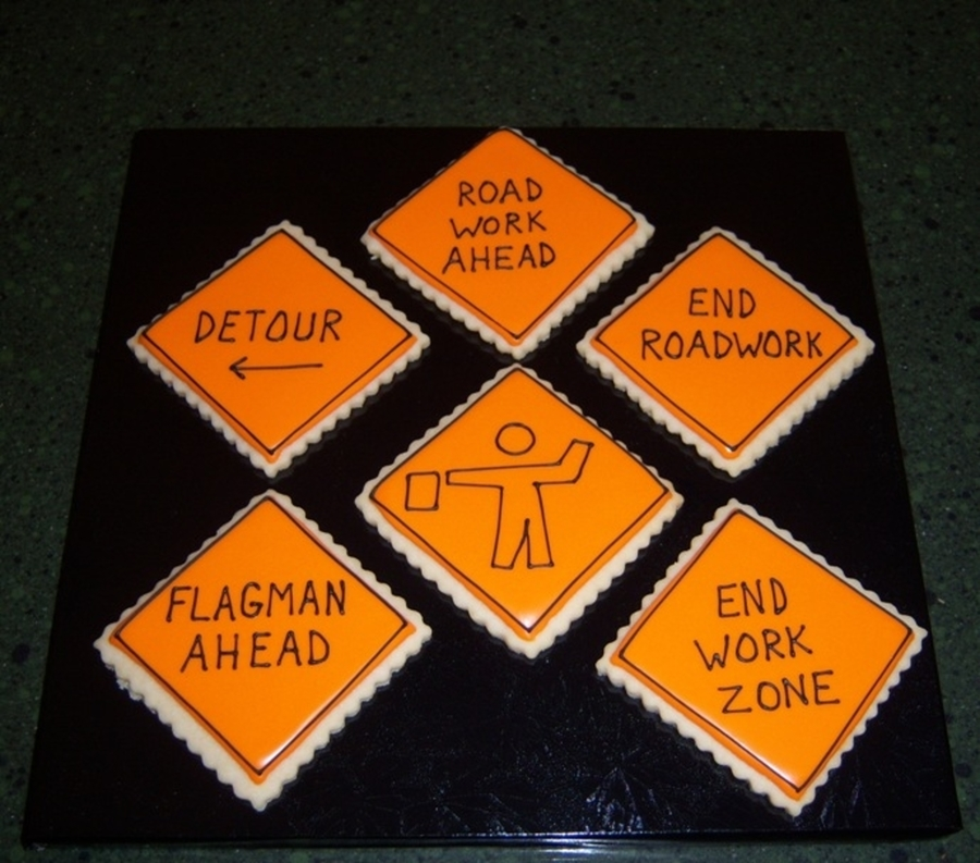 Road Construction Signs  on Cake Central