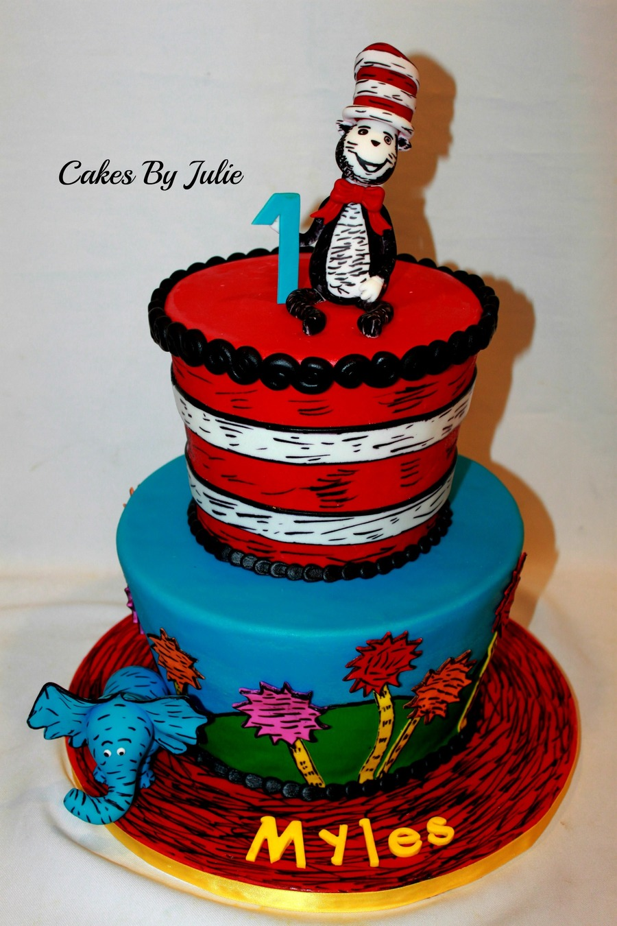 The Cat In The Hat First Birthday Cake.  on Cake Central