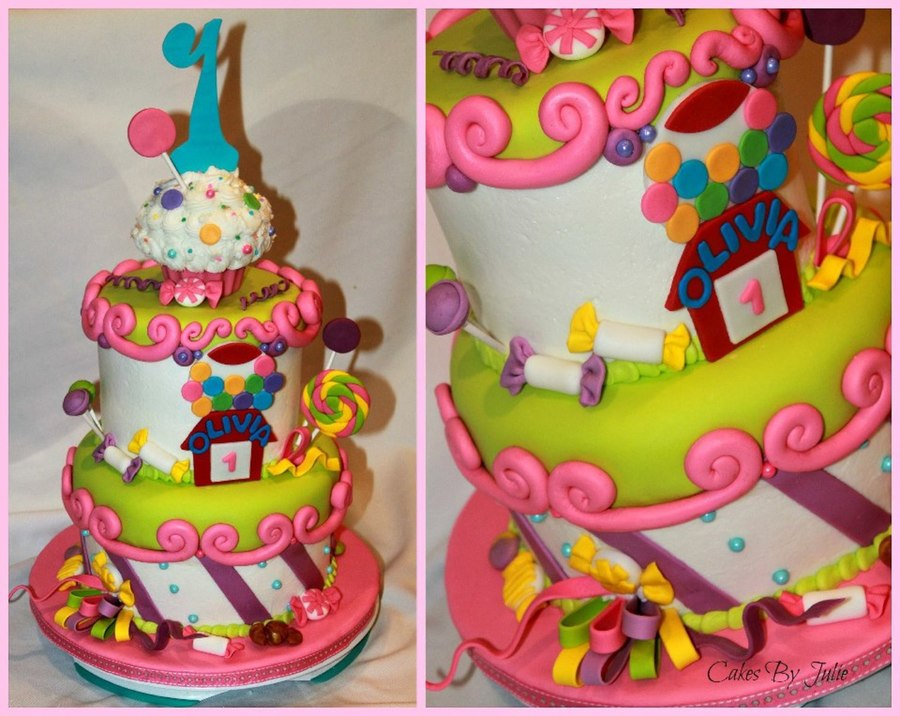 Candy Themed 1St Birthday Cake. on Cake Central