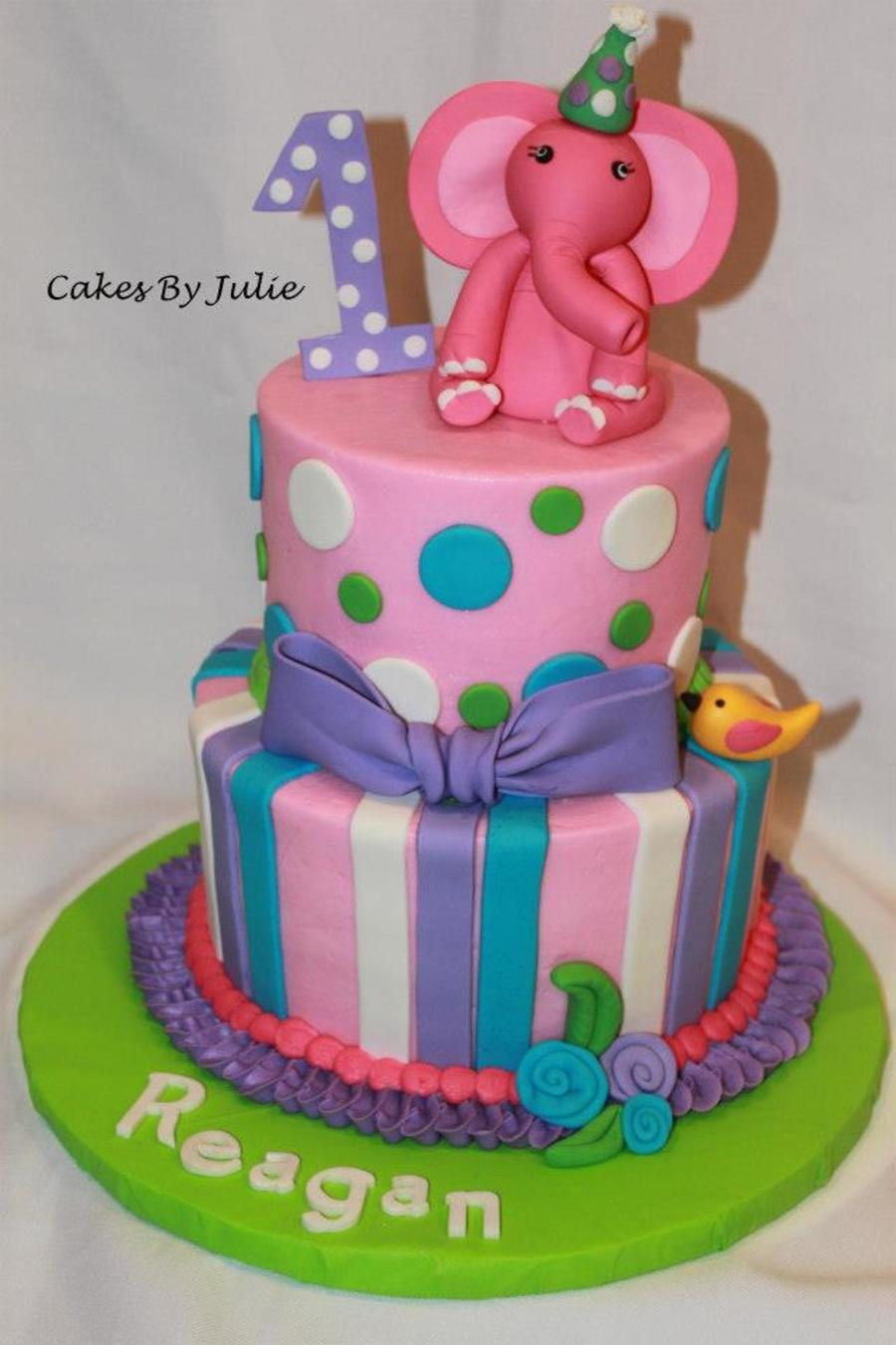 Pink Elephant 1St Birthday Cake. on Cake Central
