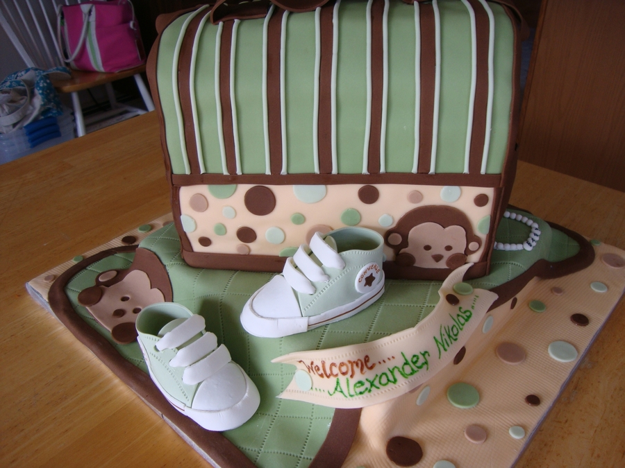 Baby boy mod monkey baby shower - Baby shower monkey theme cakes ...