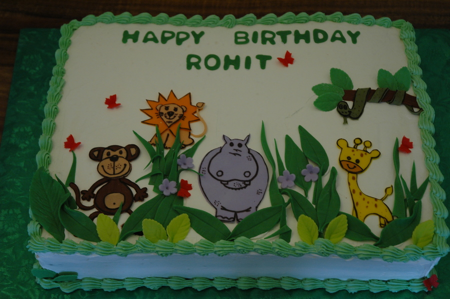 Cartoon Animals Safari Sheet Cake Jungle Theme Green Color