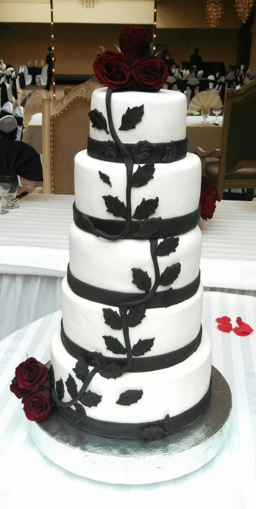 Black & White Wedding Cake With Black Magic Roses - CakeCentral.com