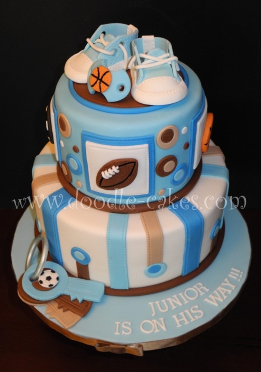 Sports Themed Baby Shower.  on Cake Central