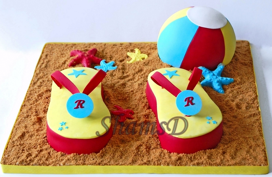 Flip Flop And Beach Ball Cake on Cake Central
