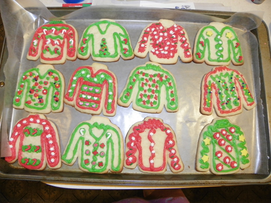 Ugly Sweater Cookies For A Red Hat Ugly Sweater Party Cakecentral Com