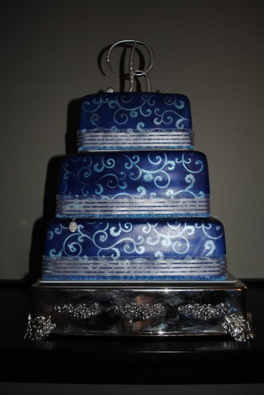 Royal Blue Fondant Cake With Silver Swirls CakeCentralcom