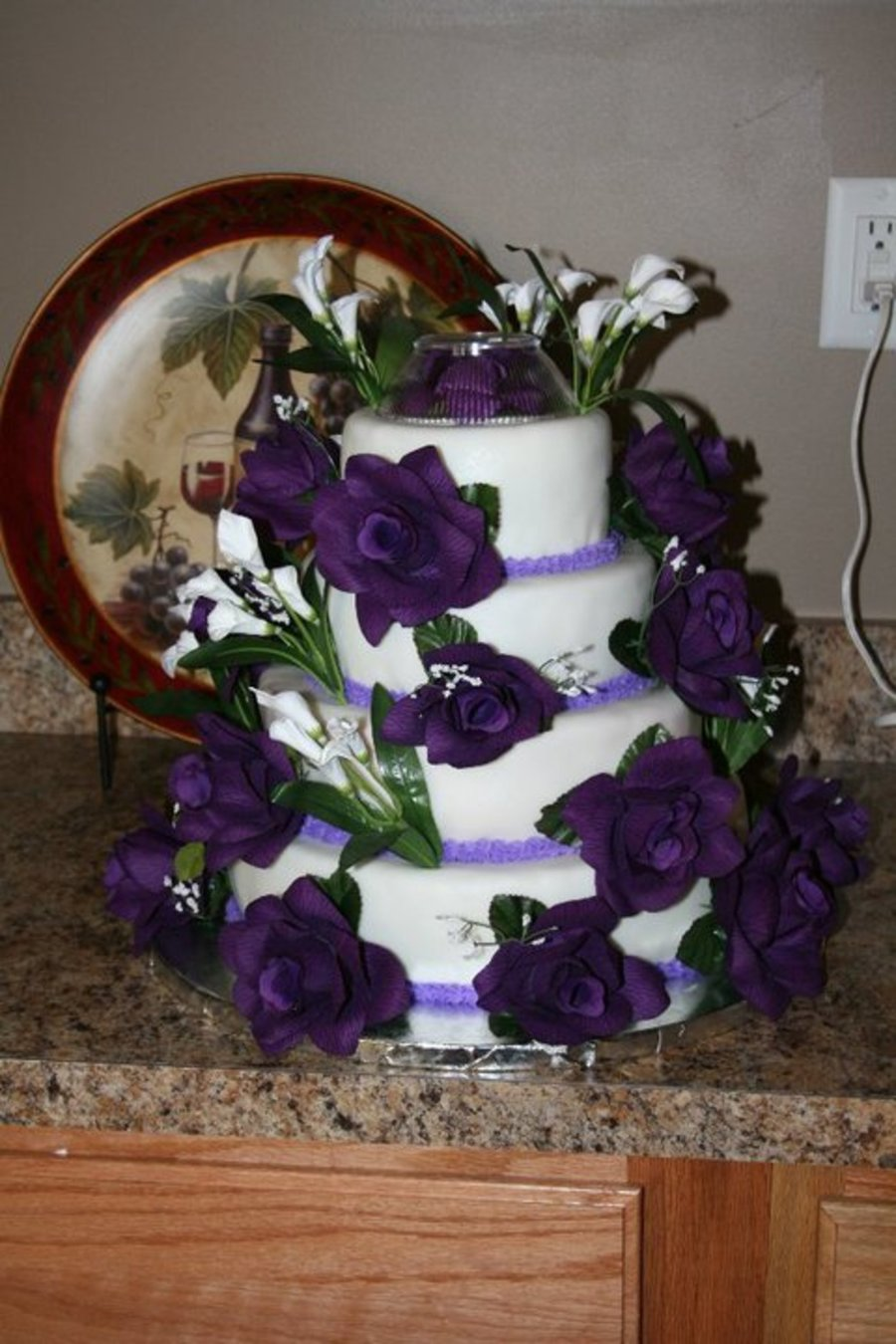 Purple Rose Round Wedding Cake on Cake Central