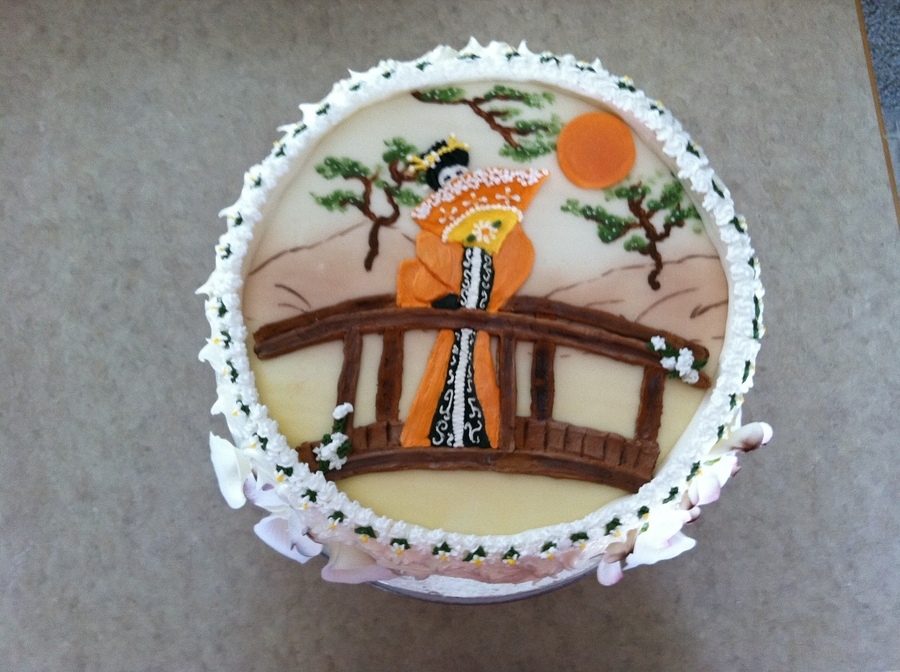 Geisha Girl Birthday Cake With Gumpaste Flowers CakeCentralcom