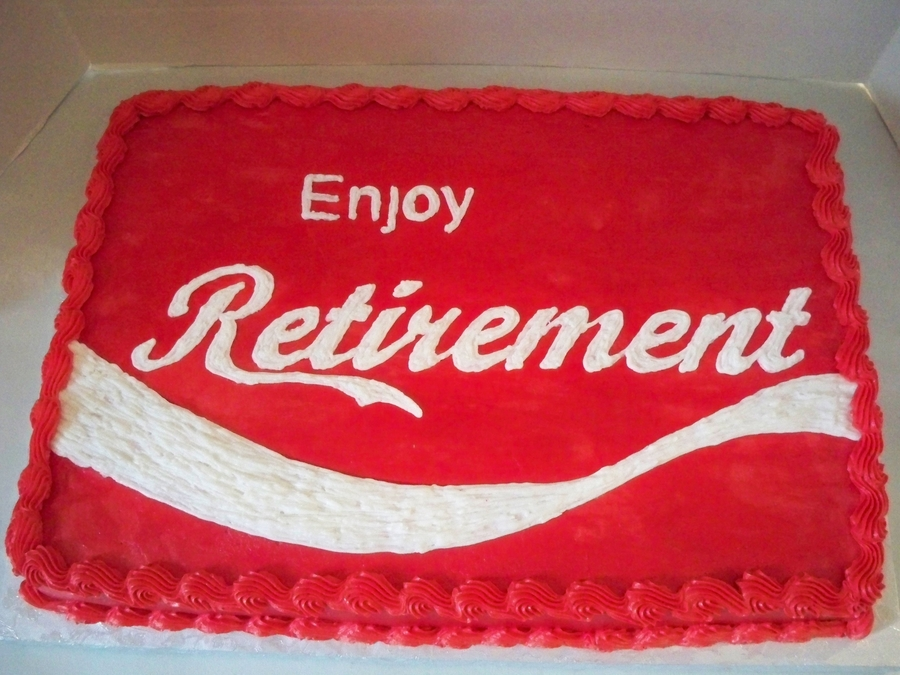 Coca-Cola Logo-Retirement Cake on Cake Central