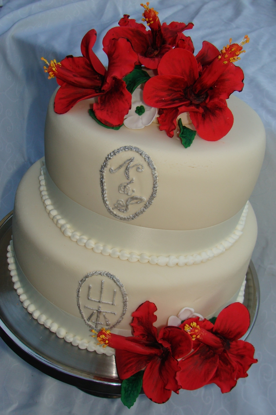 Hibiscus Flower Wedding Cake on Cake Central
