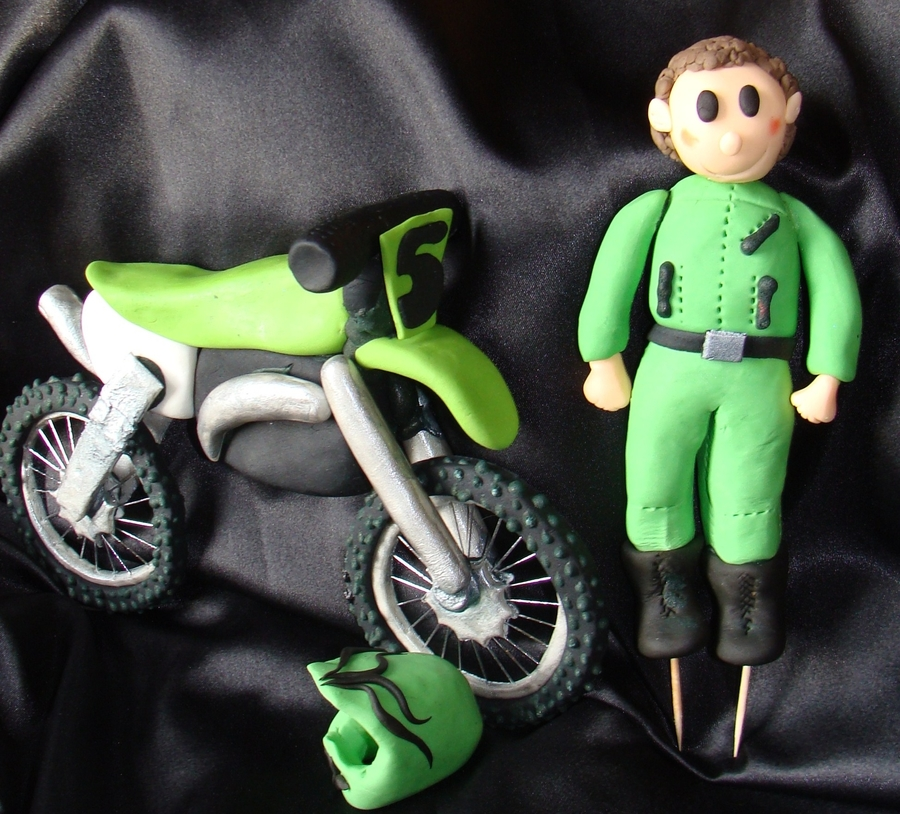 Gumpaste Motorbike, Boy And Helmet on Cake Central