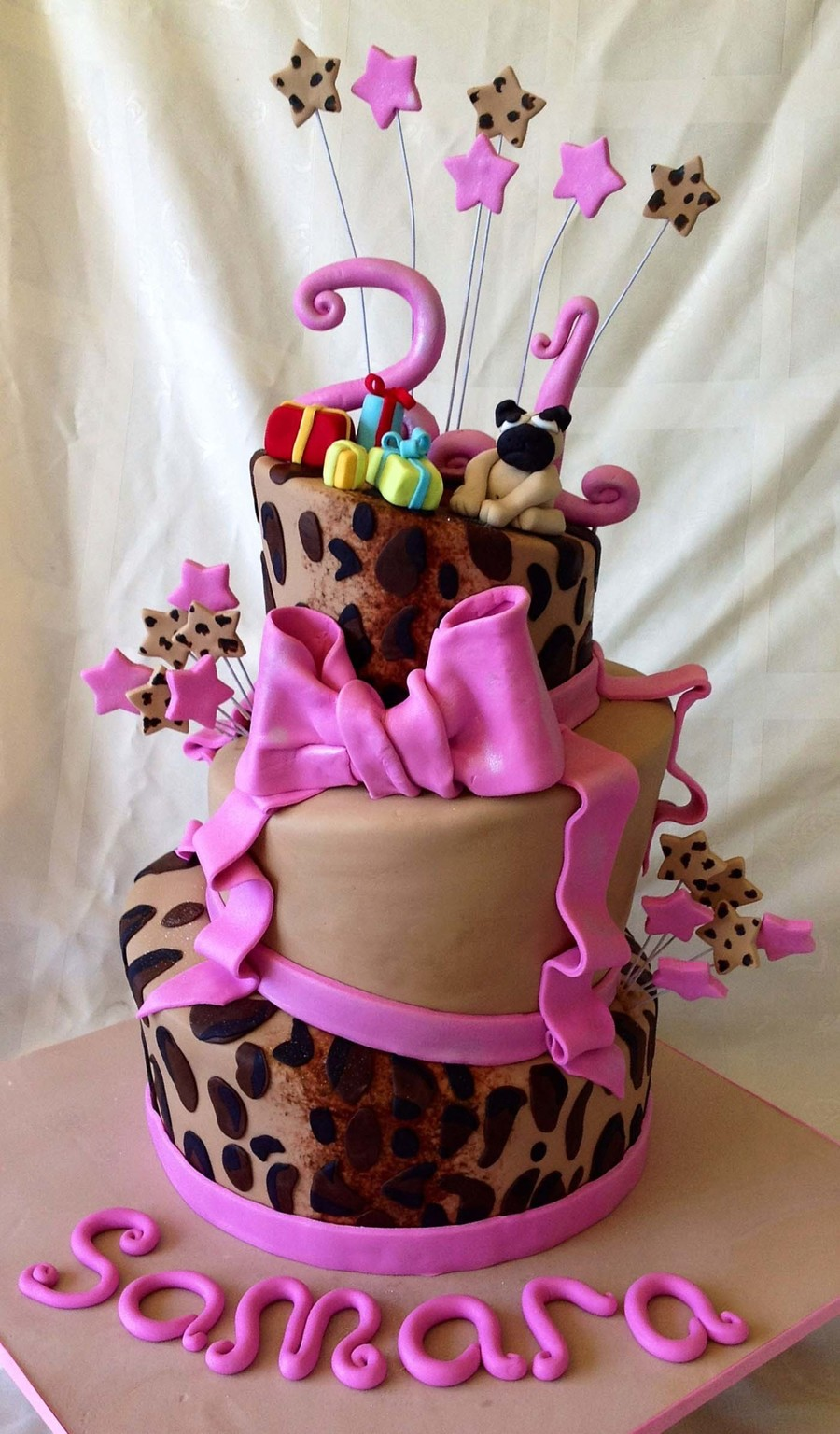 21St Birthday Cake Topsy Turvy Style Leopard Print On 2 Tiers With Hot Pink Accents Gumpaste Pug Dog And Tiny Wrapped Gifts On Top on Cake Central