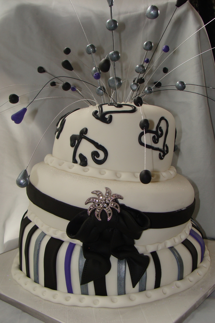 Black Silver And Purple Wedding Cake on Cake Central