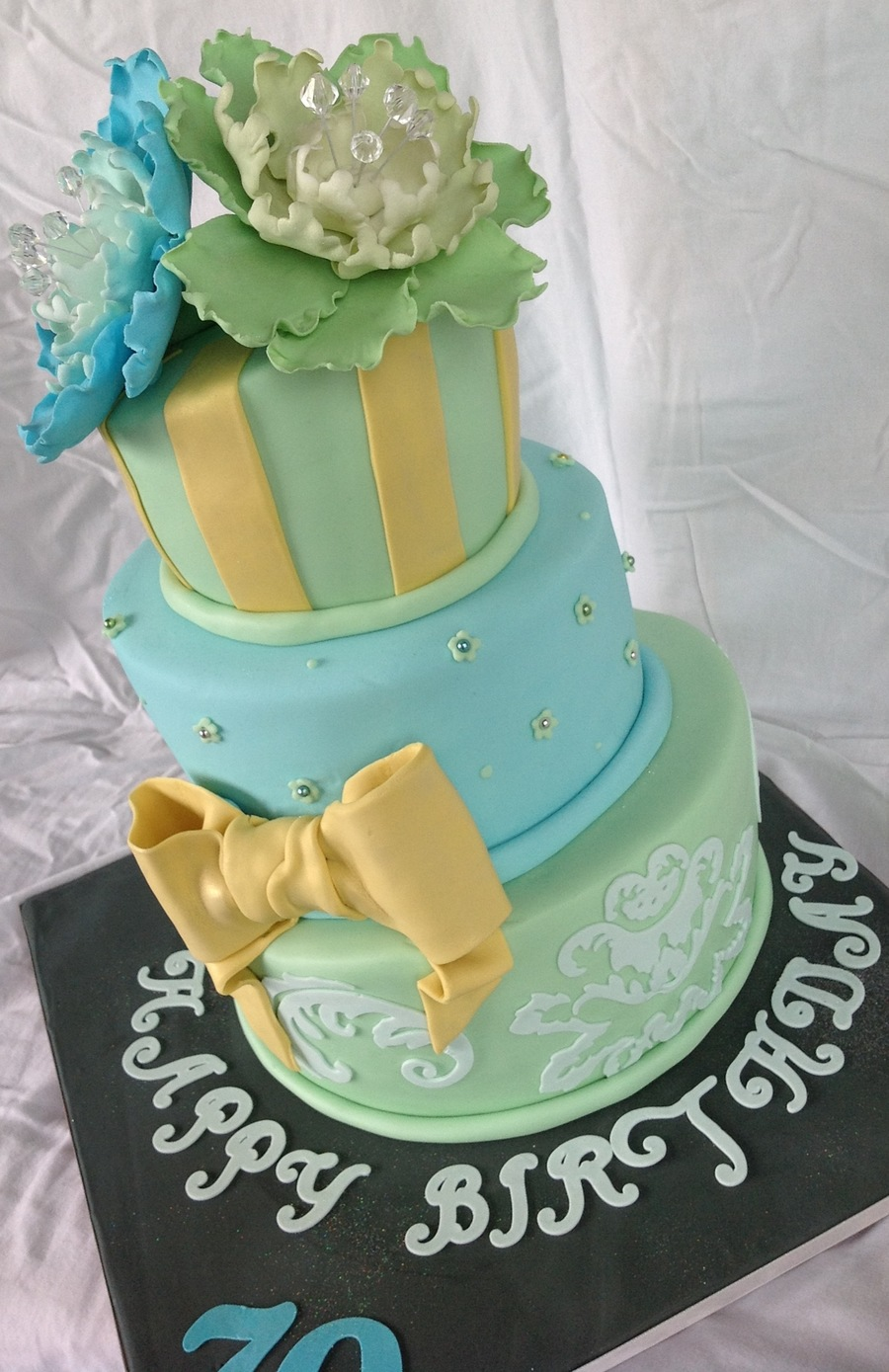 Blue Green And Yellow Topsy-Turvy Cake on Cake Central