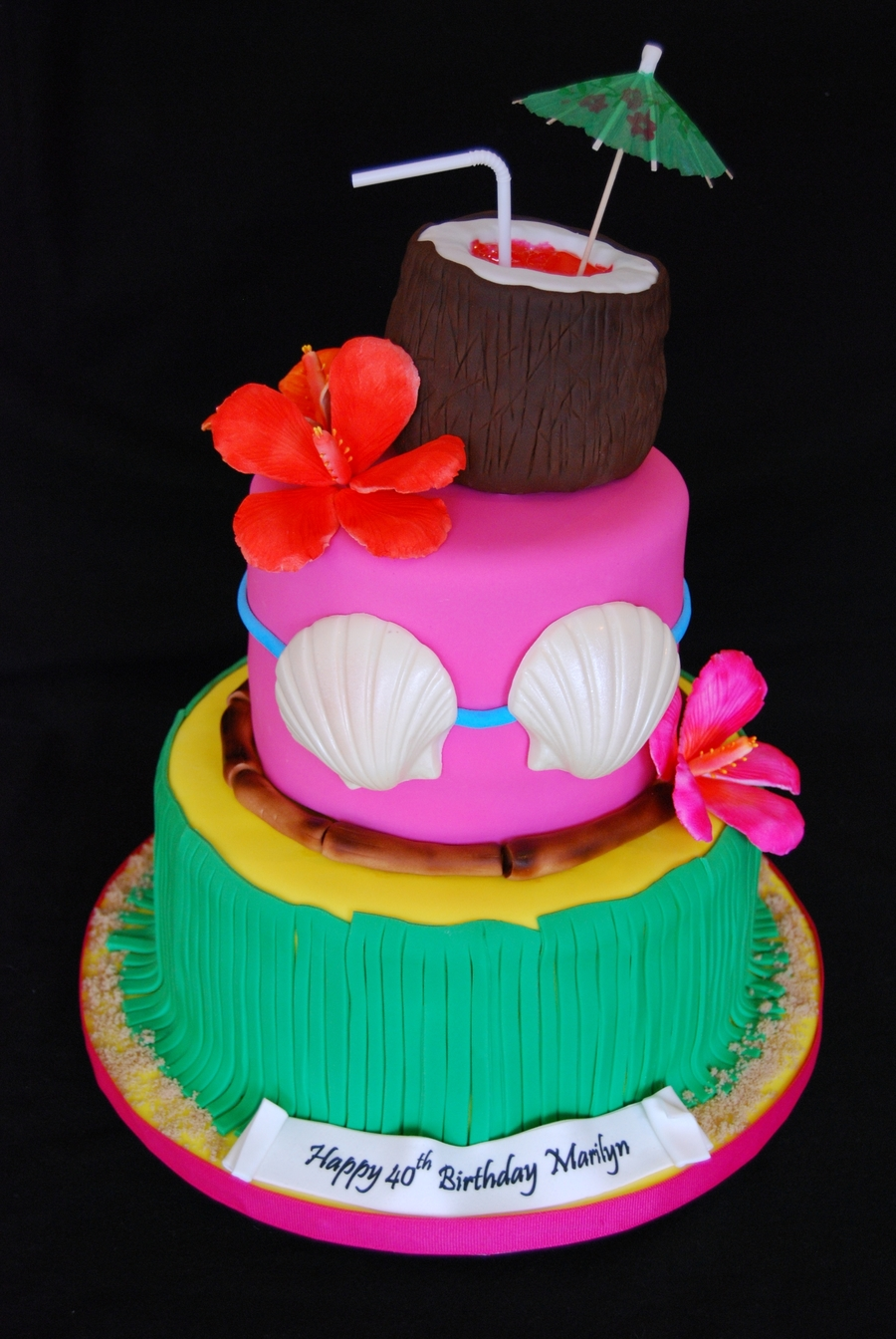 Hawaiian Themed 40th Birthday Cake On Central