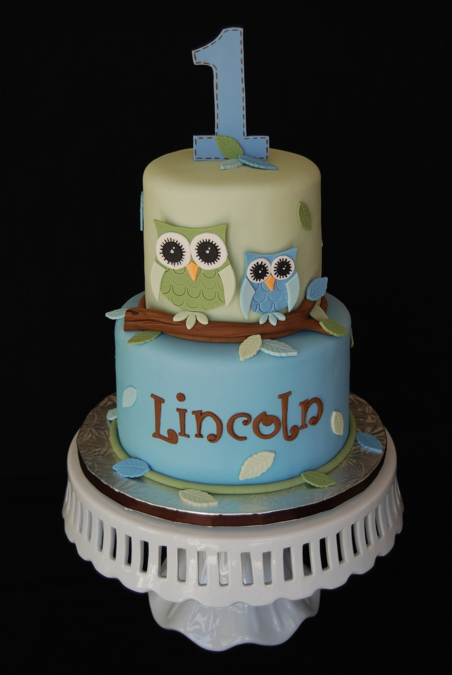 Owl First Birthday Cake CakeCentralcom