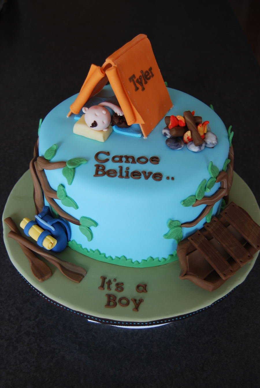 Camping Baby Shower Cake on Cake Central