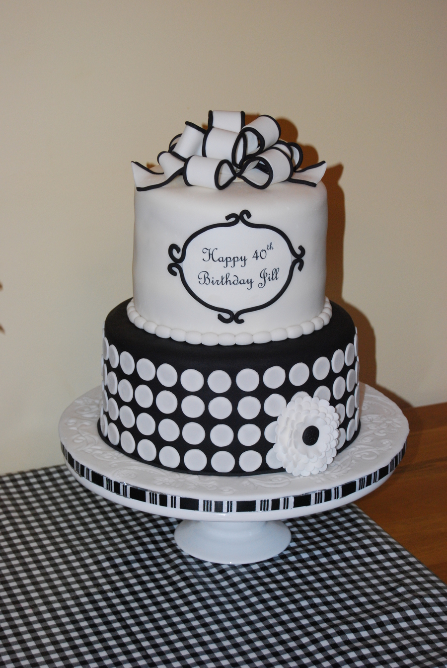 Black And White 40th Birthday Cake Cakecentral