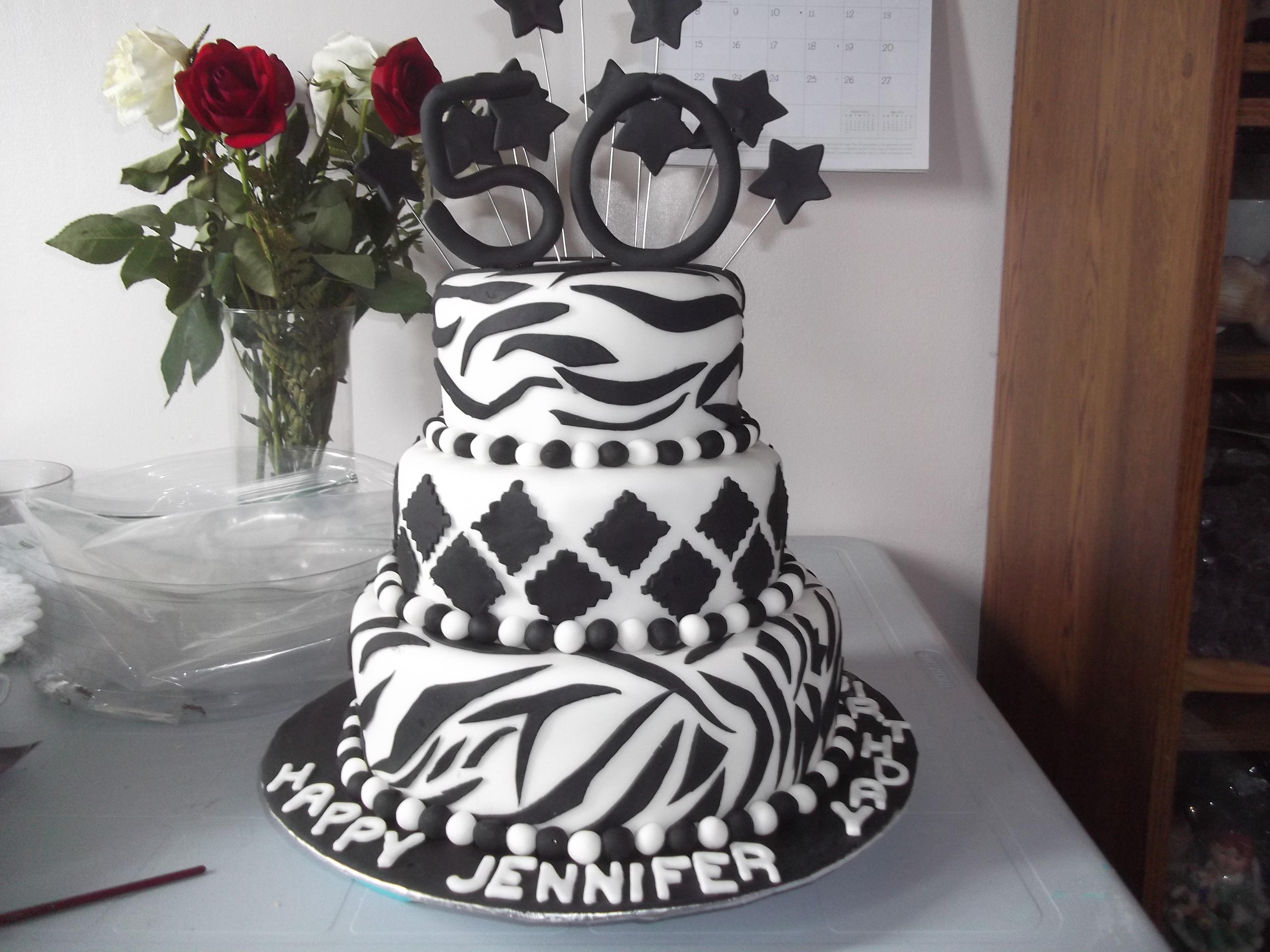 50th Birthday Cake Zebra Stripes Black On Whitejpg Cakecentral