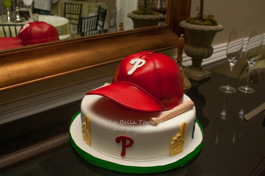 Phillies Cap Grooms Cake on Cake Central