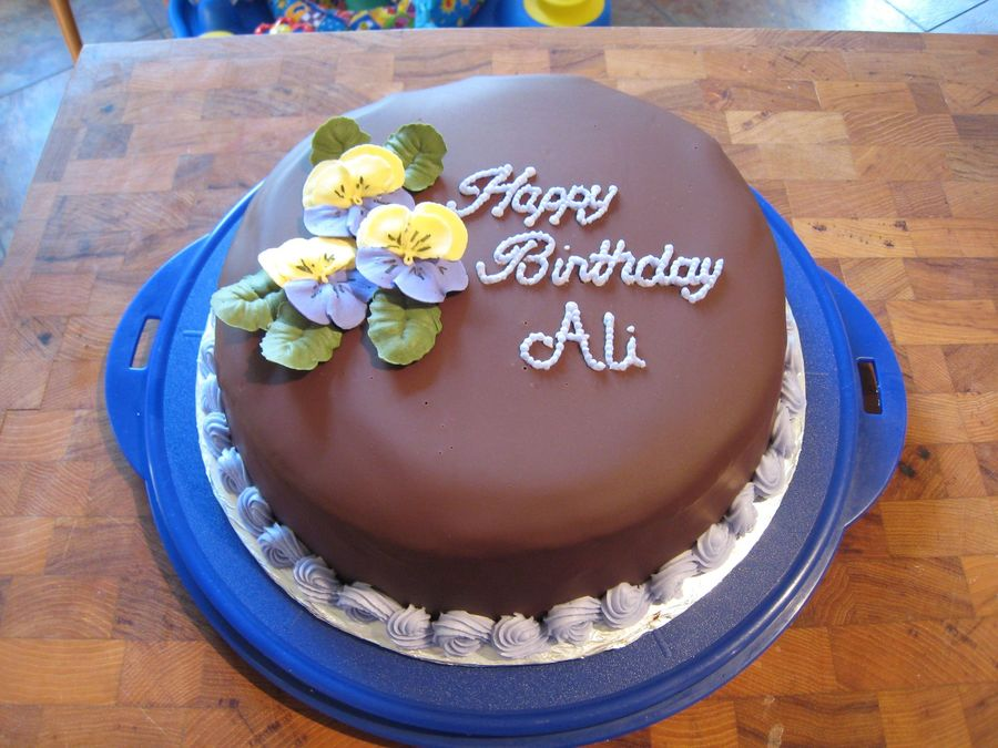 Ganache Covered Birthday Cake Cakecentral Com