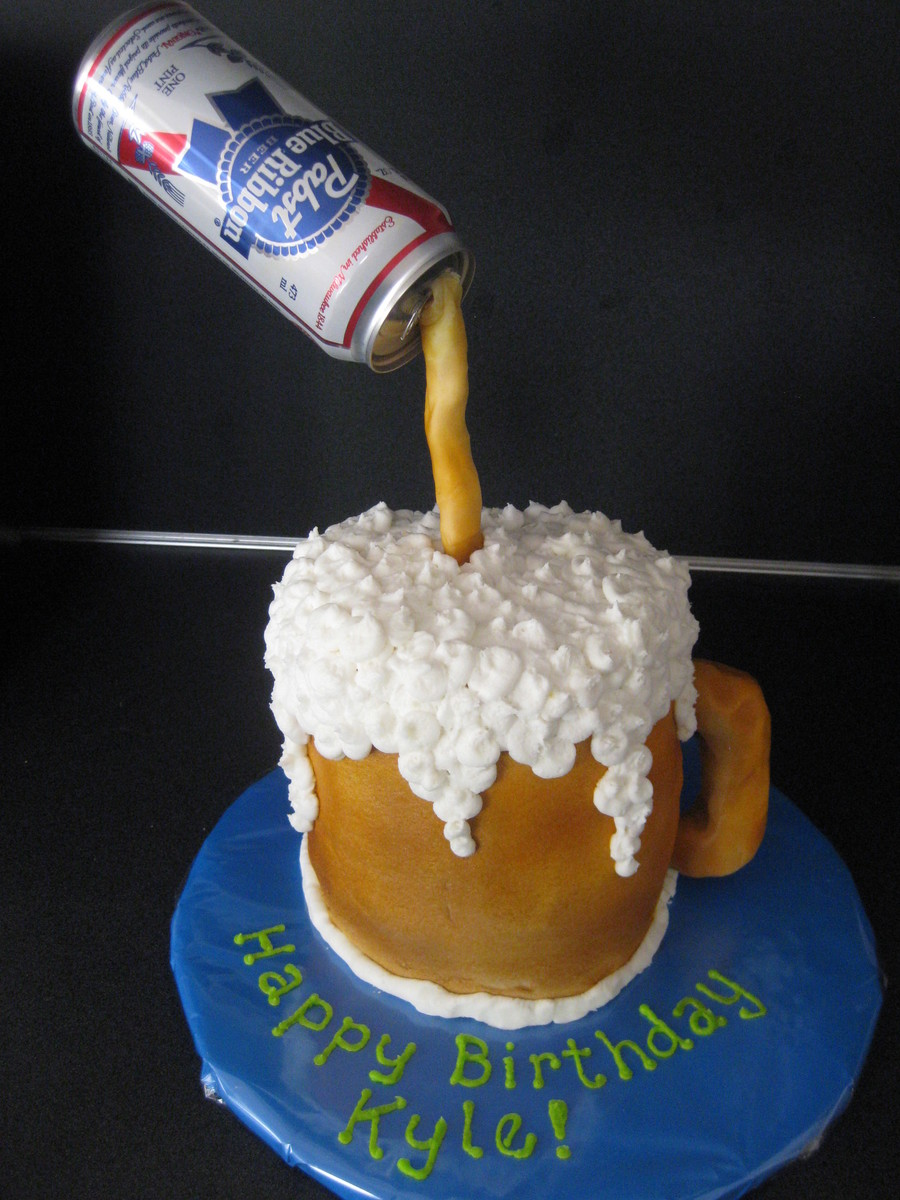 Mug Is 4 6 Cakes Covered In Buttercream And Airbrushed Foam Is Buttercream Handle Is Rice Kripie Treats Covered In Fondant Pouring Be on Cake Central
