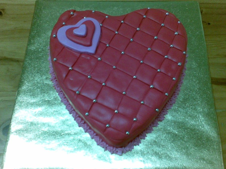 Valentine's Day Red Cushion Heart Cake  on Cake Central