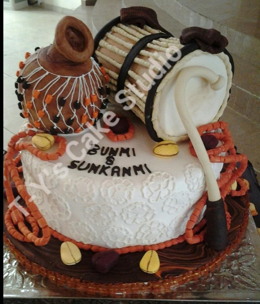 Traditional: Yoruba Traditional Wedding Cake Talking Drum Is Vanilla