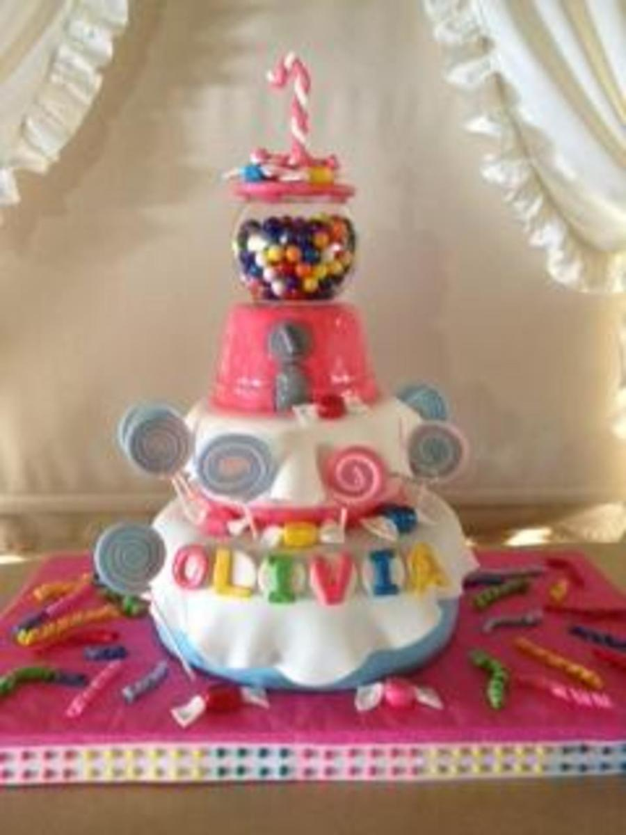 Candy Land Type Cake For A First Birthday All Is Edible But The Glass Bowl on Cake Central