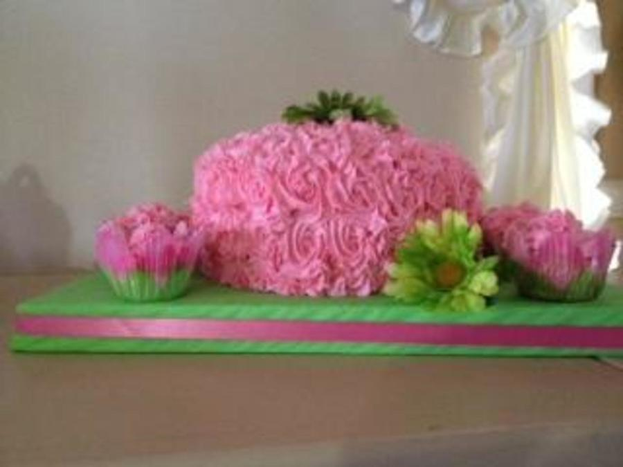 Pink And Green Birthday Cake With Cupcakes on Cake Central