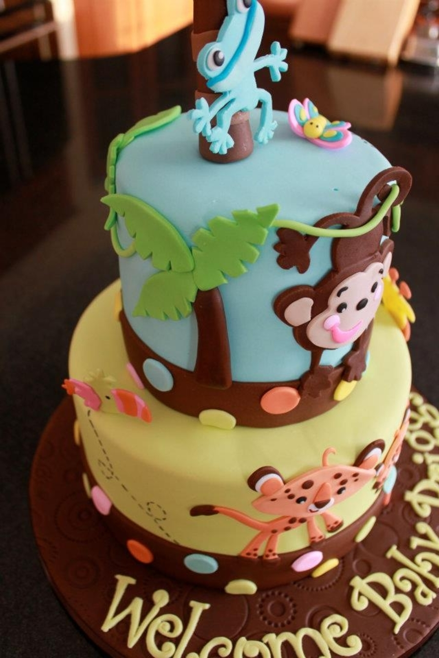Fisher price baby shower cake for Baby shower decoration cake